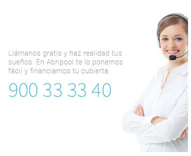 Imagen de contacta con Abripool, teléfono gratuito 900 33 33 40 para resolver tus dudas sobre cubiertas de piscinas