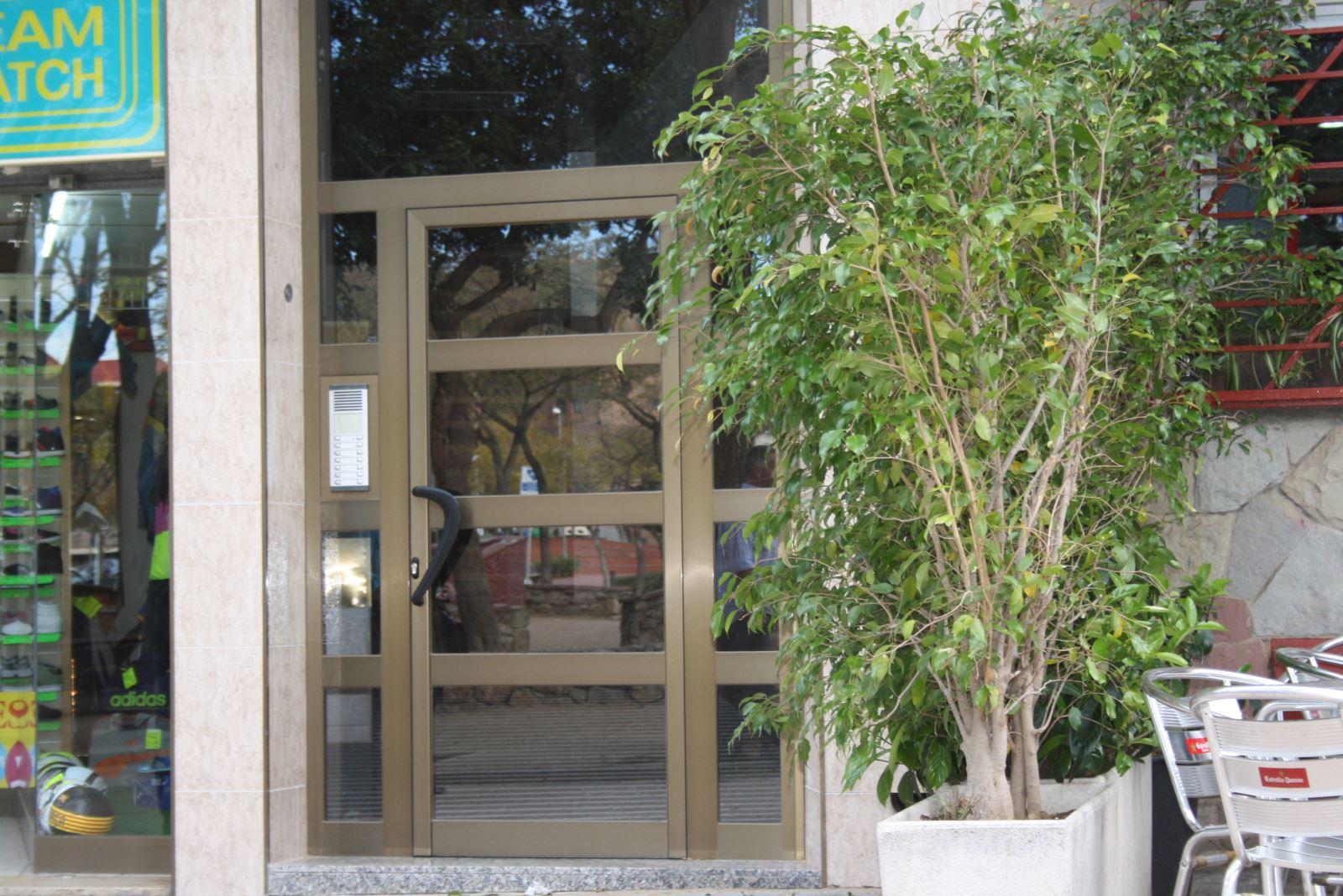 Puerta de entrada de aluminio color bronce reforzada con travesaños de aluminio. Vidrio laminar de seguridad que en caso de fracturarse no corta.