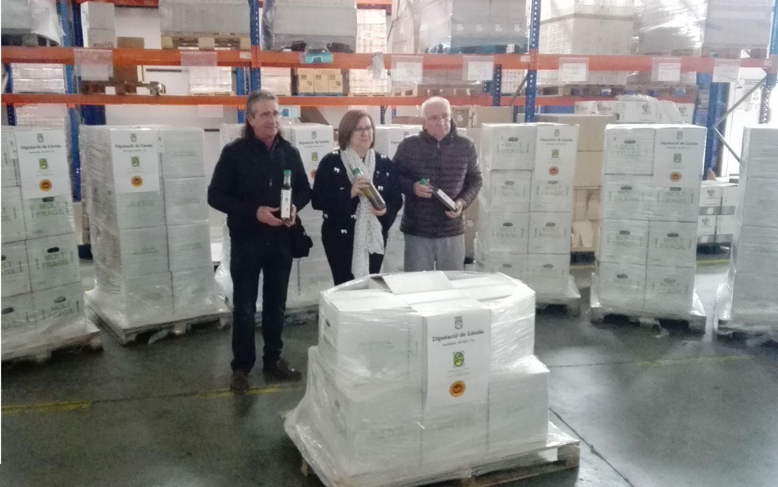 Donació de la Diputació de Lleida de 5.000 botelles d'oli
