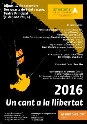Grup Boira actuarà al Teatre Principal de Sabadell. Acte organitzat per l'ANC