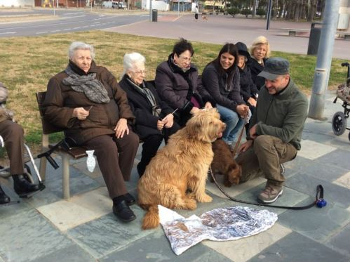 Los residentes del El Recer preparan, con Balú y Robin y los voluntarios de la Fundación Trifolium, el entierro de la sardina en el Paseo Marítimo de Castelldefels