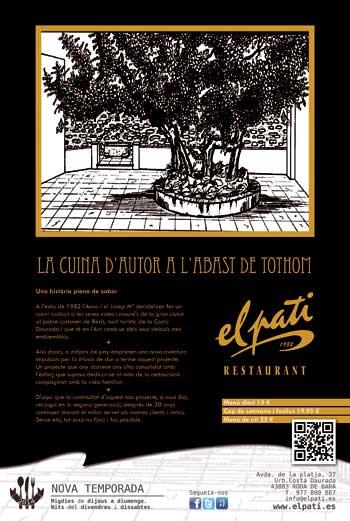 Diseño del anuncio del Restaurant El Pati de Roda de Berà - Snik Comunicación