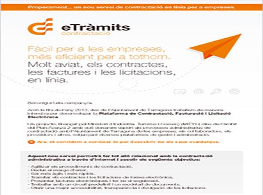Emailing del nuevo servicio eTràmits Contractació del Ayuntamiento de Tarragona - Snik Comunicación