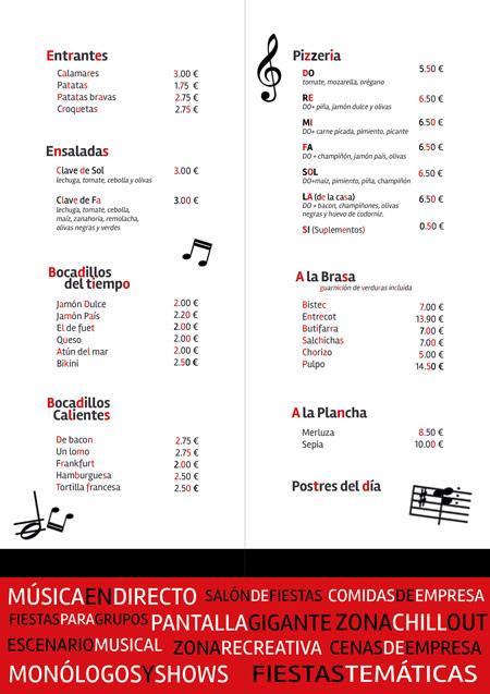 diseño de la carta gastronómica para el restaurante Xtrem.