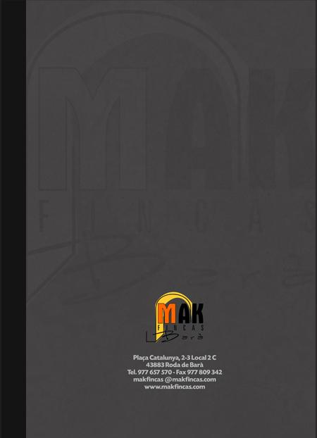 )Imagen de la Portada del Diseño y creación de la nueva carpeta corporativa para la inmobiliaria Makfincas de Roda de Berà, Tarragona