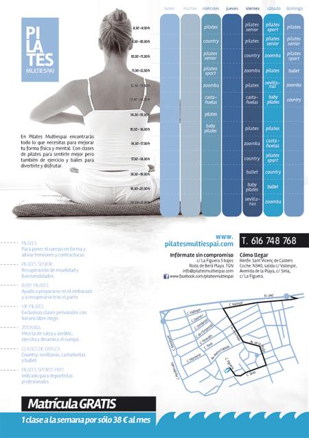 Diseño del interior del folleto de presentación de Pilates Multiespai de Roda de Berà