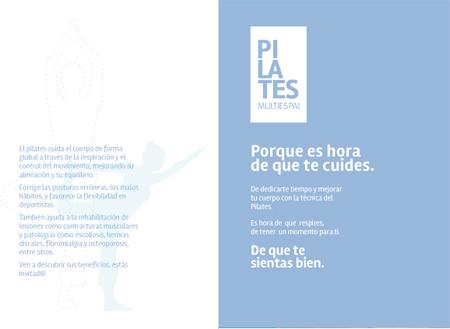 Diseño de la primera abertura del folleto de presentación de Pilates Multiespai de Roda de Berà