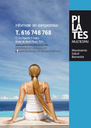 Diseño de la contraportada del folleto de presentación de Pilates Multiespai de Roda de Berà