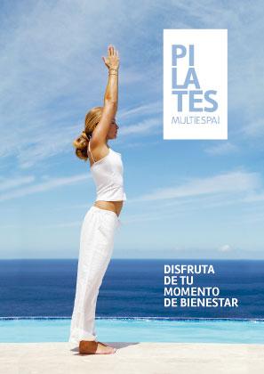 Diseño de la portada del folleto de presentación de Pilates Multiespai de Roda de Berà