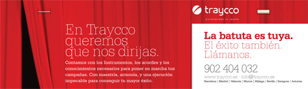 Contraportada del díptico A3 de la campaña batuta para Traycco desarrollada por Snik Comunicación