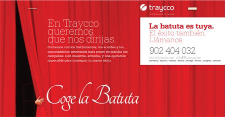 Contraportada abierta del díptico A3 de la campaña batuta para Traycco desarrollada por Snik Comunicación