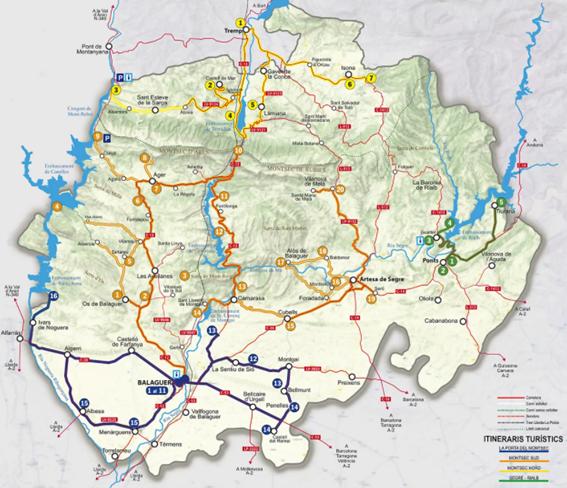 Mapa, rutas, itinerarios turísticos, Montsec