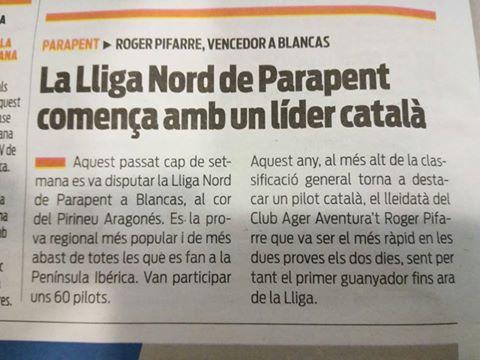 Roger Pifarré, de l'equip d'Àger Aventura't, es va imposar en un ajustat final a la primera prova de la Lliga del Nord de Parapent que va tenir lloc a Blancas, Pirineu Aragonès (9 d'abril)