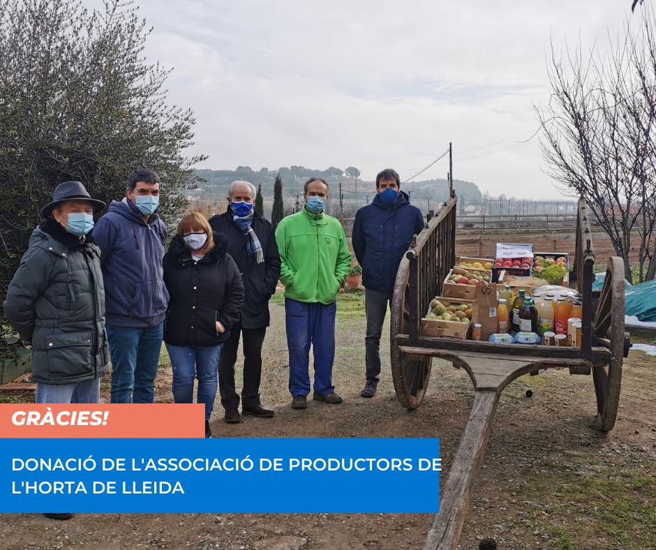Donació d'aliments de l'horta de Lleida al Banc dels Aliments per part de l'Associació de Productors