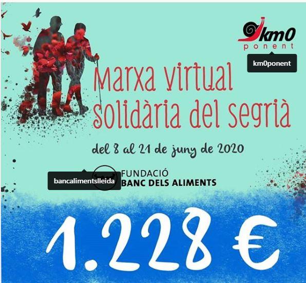 Marxa Solidària Virtual del Segrià: 1228 euros!