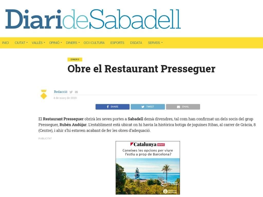 Presseguer en Diari de Sabadell