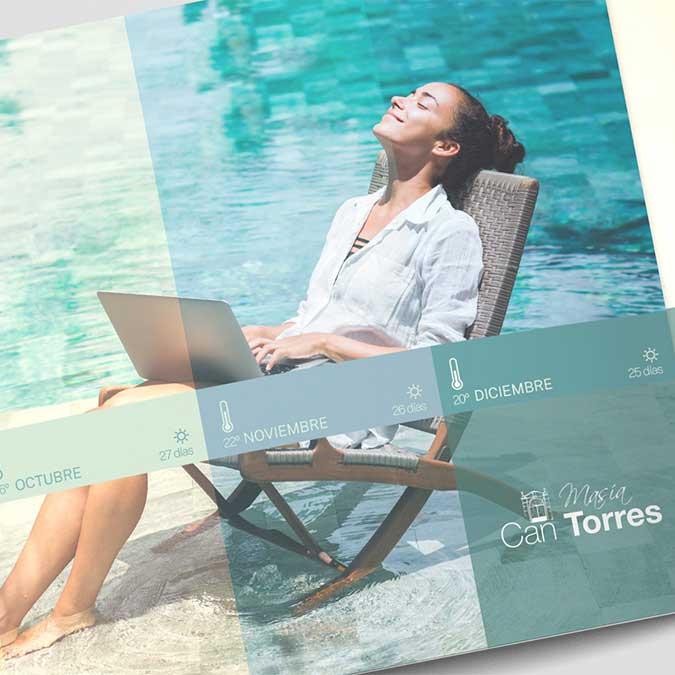 ¿Quieres celebrar un evento de empresa? Consulta el catálogo de Masía Can Torres para informarte de sus servicios, diseñado por Snik.