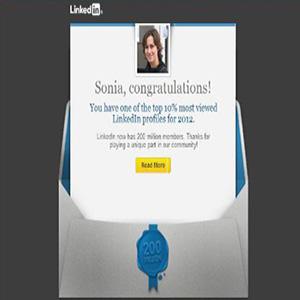 Linkedin felicita a Snik Comunicación por estar dentro del 10% de perfiles más visitados de la red.