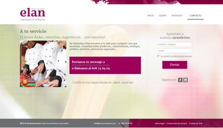Web de Exclusivas elan, proveedor de embutios y productos cárnicos a restaurantes