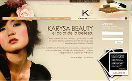 Karysa Beauty home piel asiática uno de los primeros webs de Snik Comunicacion