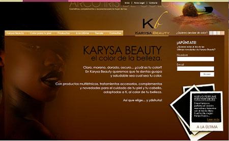 Karysa Beauty home piel negra uno de los primeros webs de Snik Comunicacion