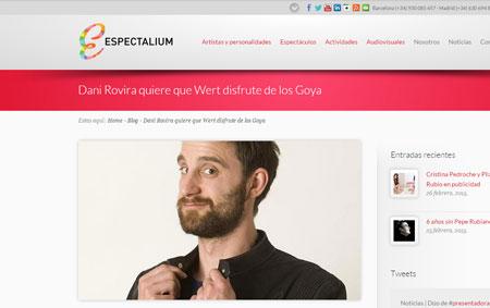 Imagen de creación de contenidos y noticias sobre Dani Rovira para el web de Espectalium, por Snik Comunicación