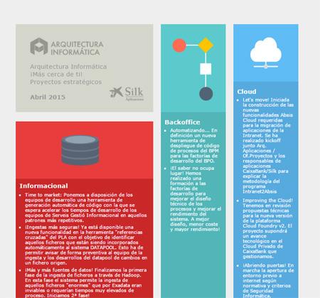 Imagen de maquetación y rediseño del newsletter de Silk Arquitectura, empresa perteneciente a laCaixa