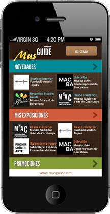 Diseño app para la interfaz de la aplicación móvil MusGuide de museos del mundo, dirección de arte por Snik Comunicación