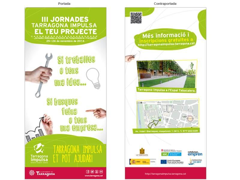 Imagen de Diseño del díptico de las III Jornadas Tarragona Impulsa 2014. Anuncio, emailing, díptico, calendario, baner, carteles, diplomas de asistencia y plafón.