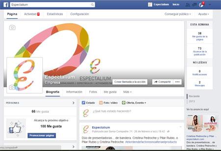 Imagen de Social media y community management del Facebook de Espectalium, la compañía artística de espectáculos