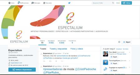 Imagen de Social media y community management del Twitter de Espectalium