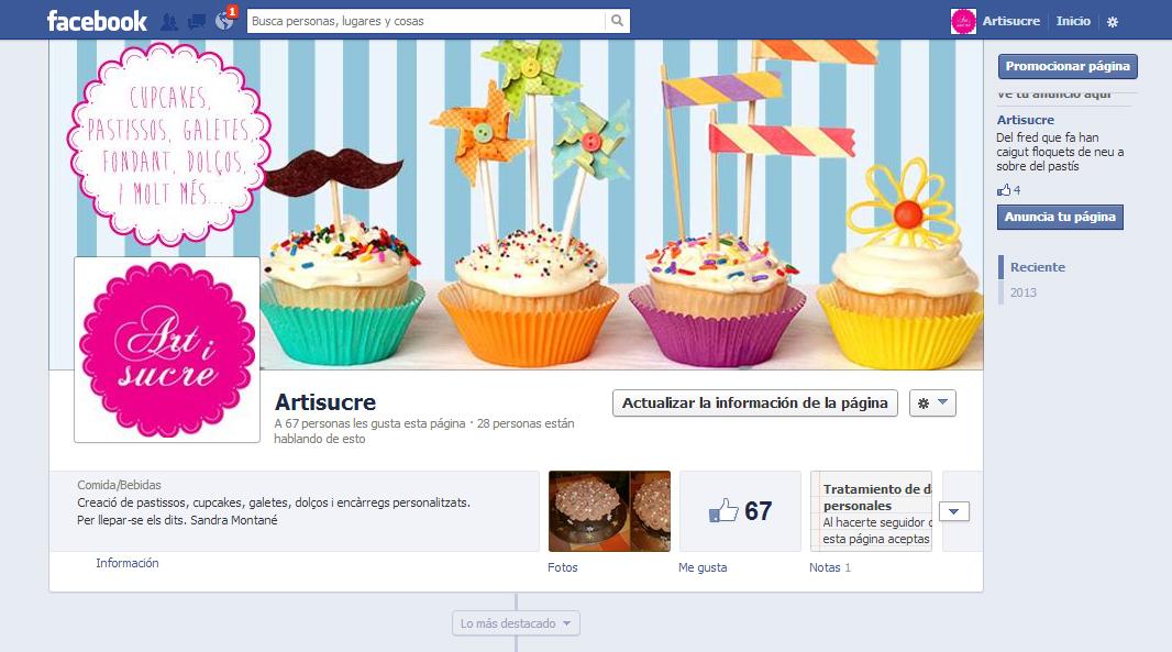 Idea, diseño y creación de la página de Artisucre pastelería creativa por encargo en Facebook.