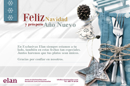 Diseño de la felicitación y la postal de Navidad online de Exclusivas Elan - Snik Comunicación