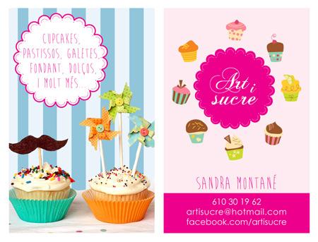 Diseño de las tarjetas de empresa de Artisuce, especialistas en cupcakes y tartas fondant personalizadas.