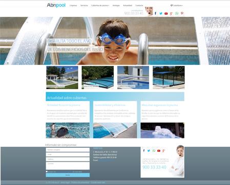 Imagen del nuevo web de Abripool, nuevo web mucho más visual, interactivos y eminentemente adaptable a dispositivos móviles (acomodativo).