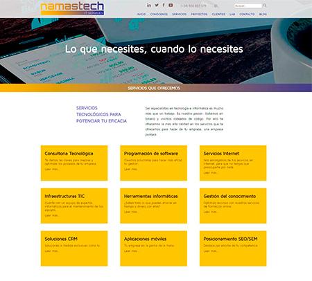 Página interior de 'Servicios'