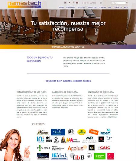 Página interior de 'Clientes'