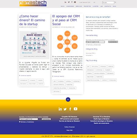 Página interior de 'Blog'
