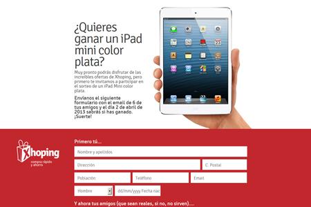 Landing del sorteo de un iPad Mini de Xhoping