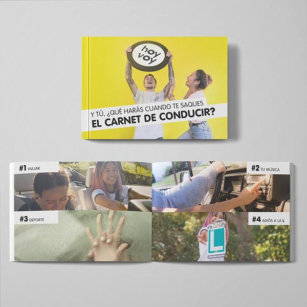 Diseño y redacción creativa del catálogo corporativo para la autoescuela hoy-voy, que cuenta en la actualidad con 23 franquicias. Creatividad, originalidad y frescura para una imagen moderna y joven.